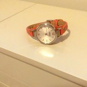 Fossil Coral and Silver leather watch
